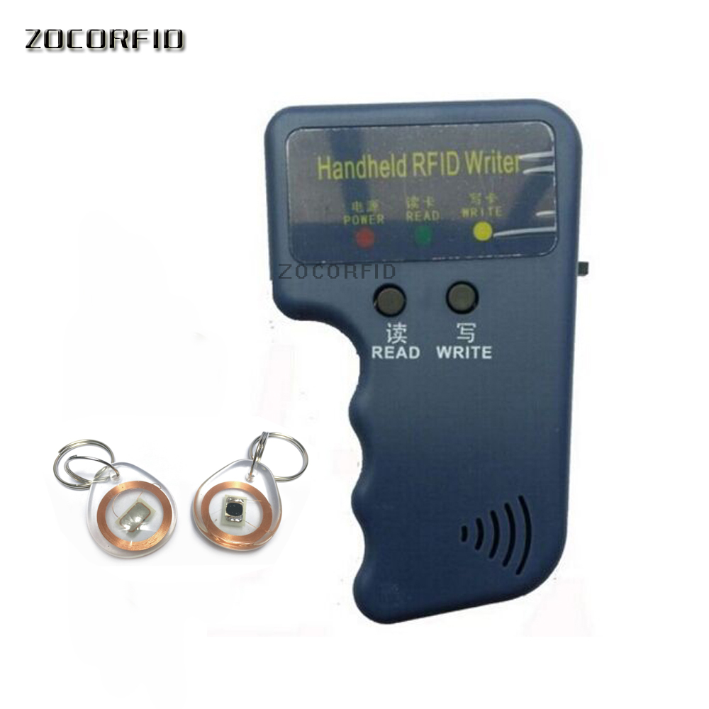 125KHz EM4100 TK4100 RFID Copier Writer Duplicator Programmer Reader + 2pcs EM4305 T5577 Rewritable crystal keyfobs leshp handheld 125khz em4100 rfid copier writer duplicator programmer reader 20000 times writer for em4305 t5577 cet5200 en4305