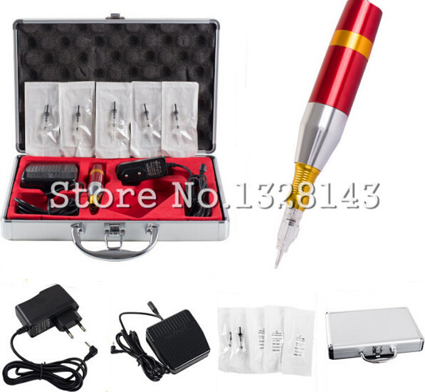 Complete Tattoo Kit Professional Permanent Makeup Eyebrow Tattoo pen Power Supply Wholesale Free shipping недорго, оригинальная цена