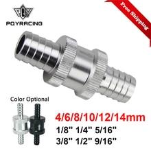 Высокое качество алюминии Сплав топливным обратным проверочным клапаном в одну сторону бензин дизель 6/8/10/12/14 мм PQY-FCV