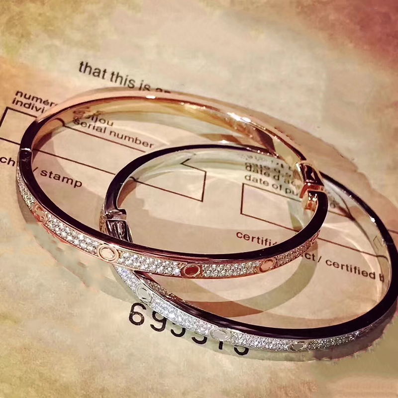 Brand Pure 925 Sterling Silver Jewelry For Women Screw Love Silver Bangle Full Stone Rose Gold
