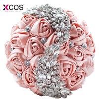 Rose Gold Rose Wedding Flowers Bridal Bouquets 2018 Sparkly Luxury Diamond Crystal For Bride Ramos De Novia