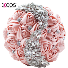 Rose Gold Rose Wedding Flowers Bridal Bouquets 2018 Sparkly Luxury Diamond Crystal For Bride Ramos De Novia