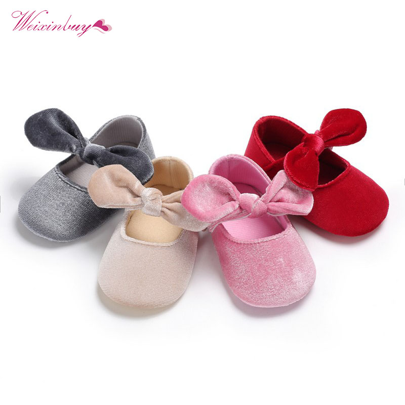Lovely Baby Girl Soft Sole Shoes Dots Bowknot Toddler Anti-slip Shoes Newborn Princess Style Cute Girls For Spring Autumn Footwear First Walkers Baby Shoes