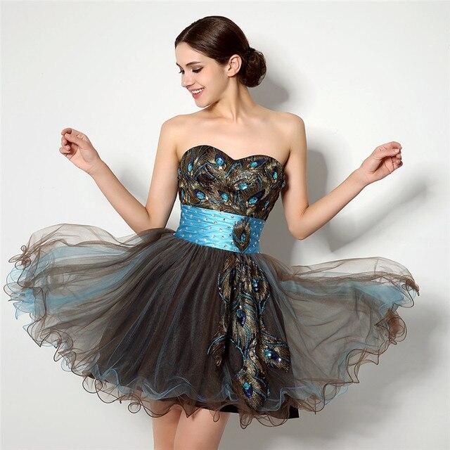 vestidos con plumas de pavo real corto homecoming vestidos de novia