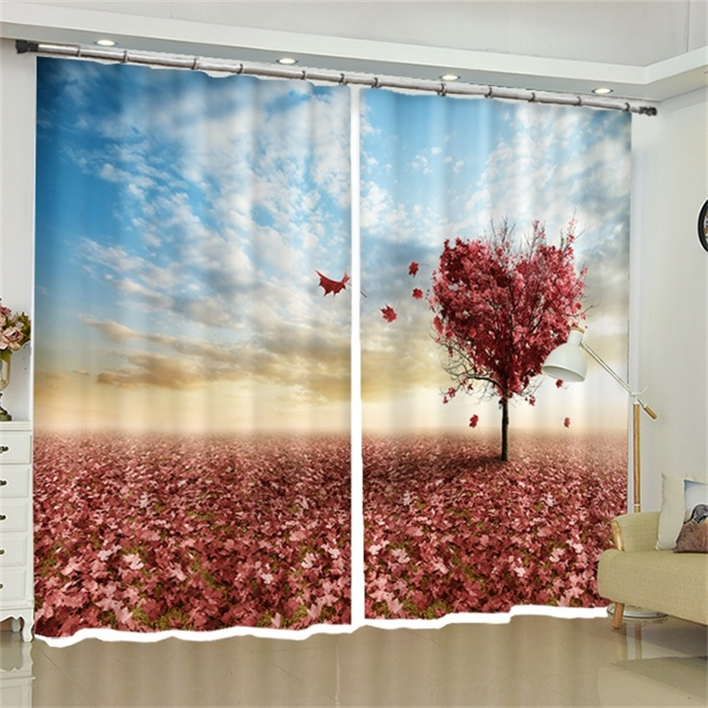 Maple Leaf Tree Fabric Curtains Hook Blackout for Living Room Bedroom Balcony Doorway Window Drapes Backdrop Home Decor