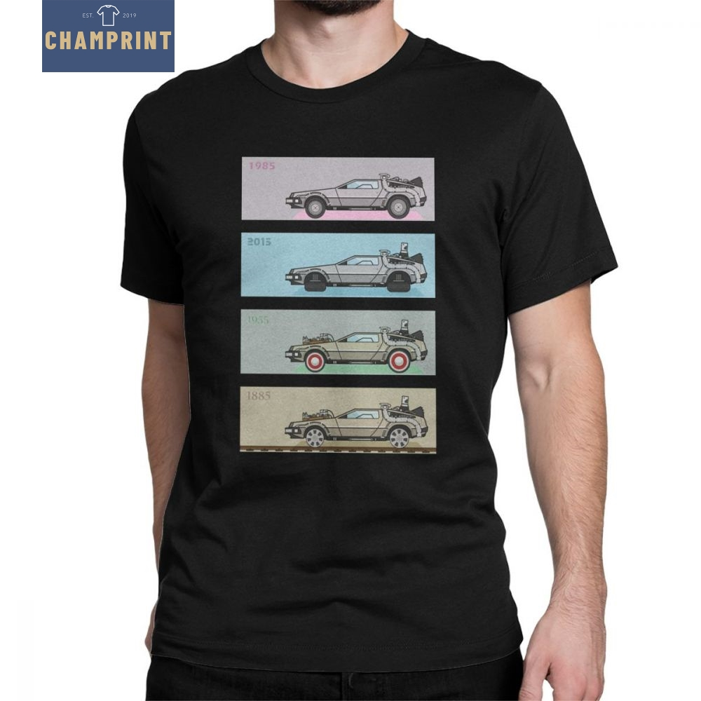 Back To The Future T-Shirt Delorean Novelty Time Machine Travel 80s Movies T Shirt for Men Short Sleeves Tops Normal Tees Cotton