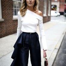 HOT Fashion Autumn Women Streetwear Off Shoulder White Blouse Shirts Slash Neck Flounce Long Sleeve Knitted Tops Size S-XL flounce sleeve gingham babydoll blouse