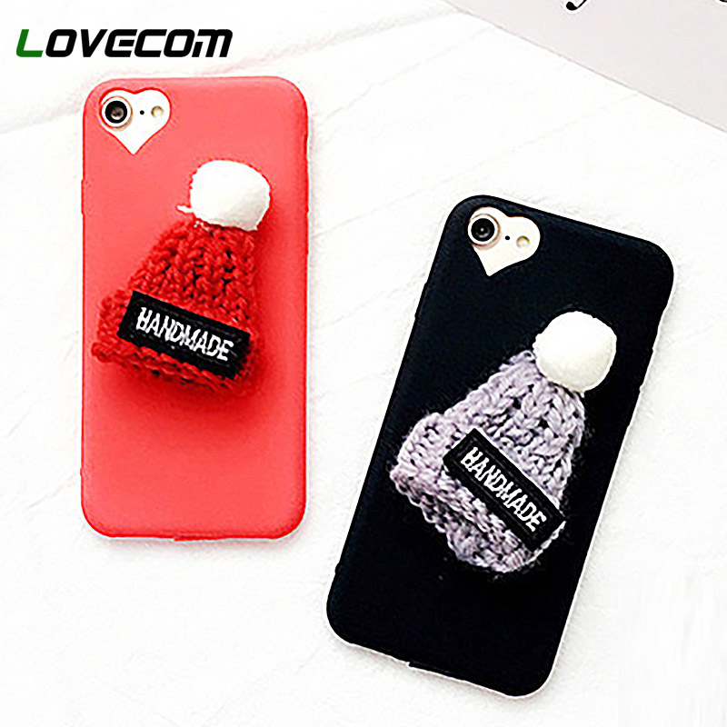 buy popular 10975 56b11 Phone Case For Iphone 5 6 6S 7 8 Plus X DIY Cute Christmas Hat Half-Wrapped  Colorful Soft Phone Cover Coque Lovely Gifts
