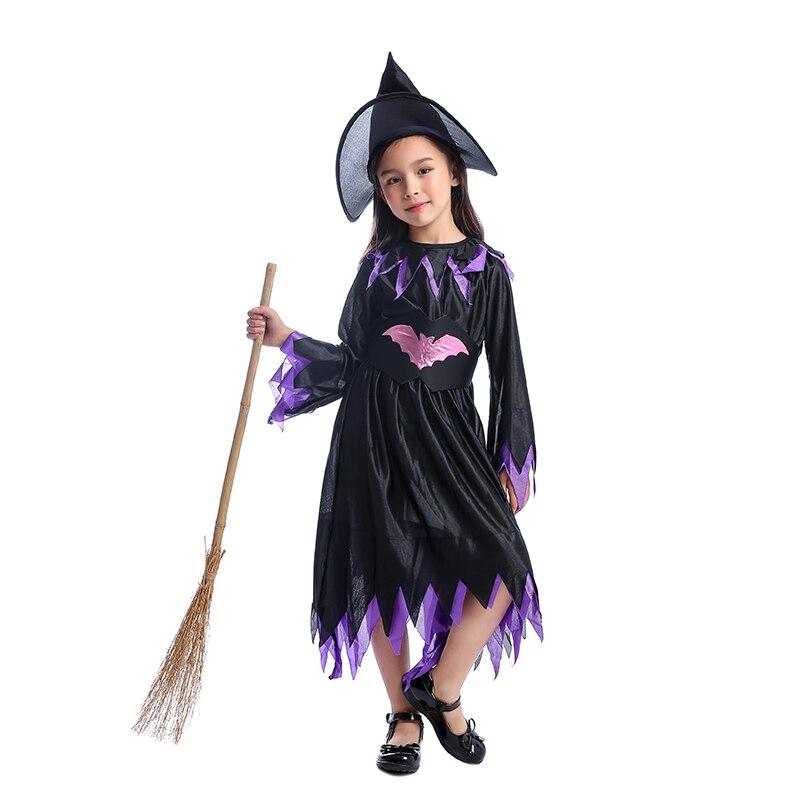 Girls Classic Purple And Black Wicked Bat Witch Child Kids Halloween Costume