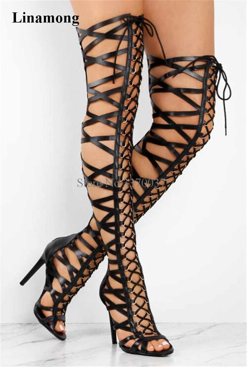 Details about  /Gladitor Womens High Heel Summer Roma Knee High Sandal Gladiator Peep Toe Boots