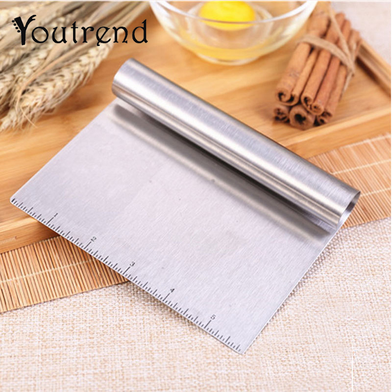 Us 2 98 25 Off 1 Piece Pastry Cutter Stainless Steel Pizza Dough Bench Scraper Cutter Kitchen Flour Slicer Baking Cake Spatulas Tools In Baking