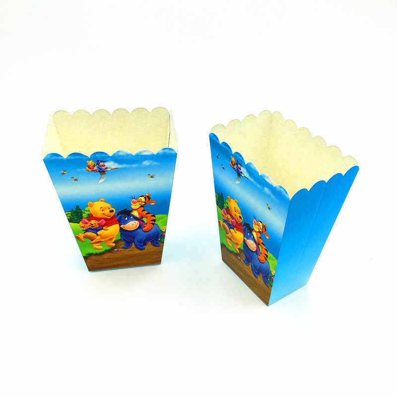 6pcs Lot Winnie The Pooh Popcorn Box Kids Birthday Party Supplies Winnie Pooh Boxes Happy Birthday Popcorn Boxes Party Supplies