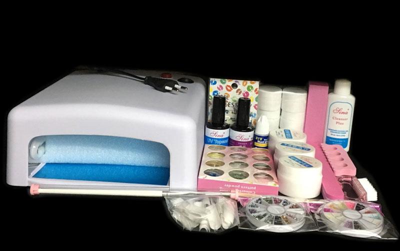 ФОТО BTT-76 Professional Full Set 12 color UV Gel Kit Brush Nail Art Set + 36W Curing UV Lamp kit Dryer Curining Tools
