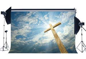 Image 1 - Wood Cross Backdrop Fairytale Heaven Holy Lights Backdrops Blue Sky White Cloud Resurrection  Background