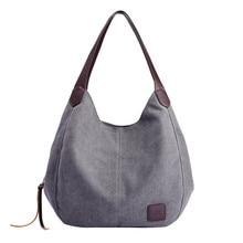 Women's Canvas Handbags High Quality Female Hobos Single Shoulder Bags Vintage Solid Multi-pocket Ladies Totes
