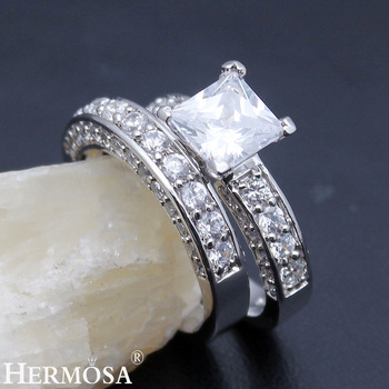 Hermosa Wedding Rings White Zircon 1 Pair Rings Engagement Anniversary Jewelry Bridal Bands Ring Size 7# 8#