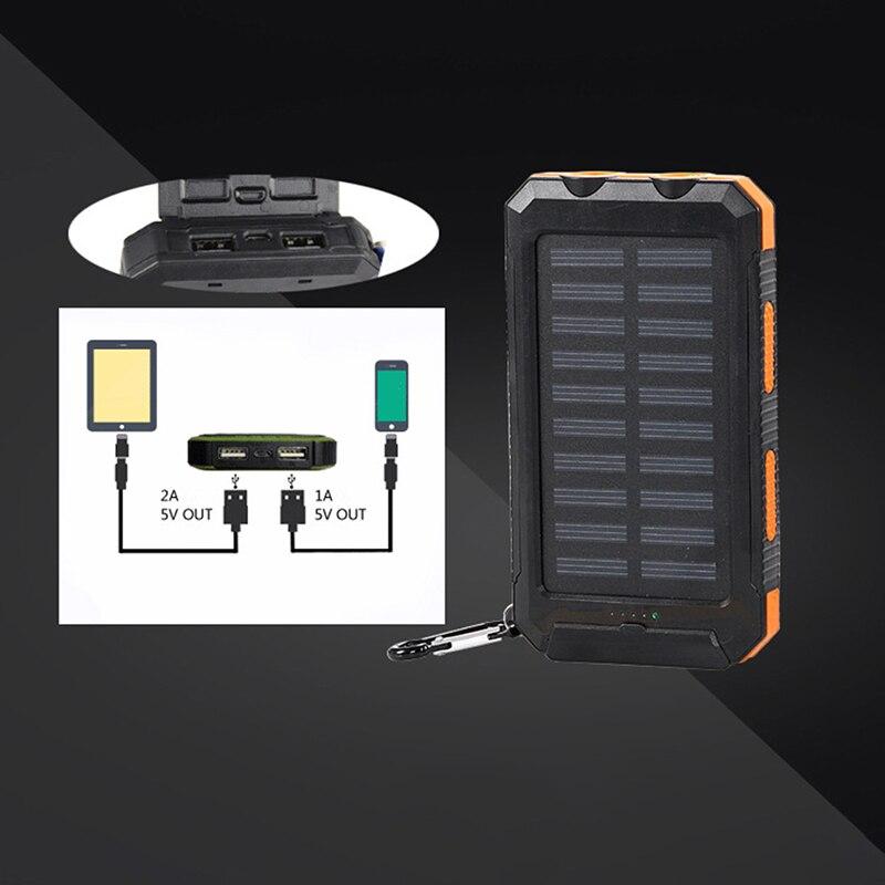 1pcs Diy Waterproof Dual Usb Mobile Phone Accessories No Battery Solar Led 50000mah Power Bank Charger Case Kit 14.9cm X 7.4cm X 1.8cm
