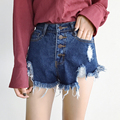 2017 Denim Shorts New Arrival Women's Fashion Tassel Ripped Loose High Waist Shorts Sexy Short Jeans s280