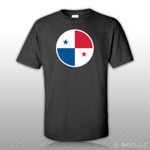 Round Panamanian Flag T-Shirt Tee Shirt Free Sticker Panama pa pan