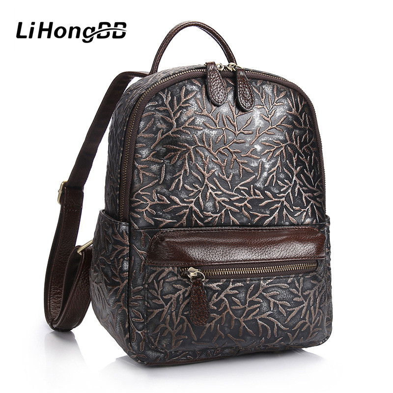 2017 Fashion Design Women Genuine Leather Backpack Vintage Embossed Flower School Bag Preppy Style Backpacks For Teenager Girls