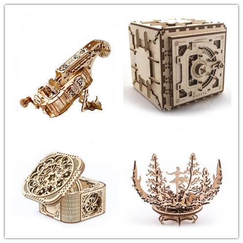 Hurdy Gurdy Holz Modell Gebäude Kits Montage Puzzle 3D Pädagogisches Spielzeug für Kinder Jungen Mädchen Multifunktions Musik Box-in Modellbau-Kits aus Spielzeug und Hobbys bei  Gruppe 1