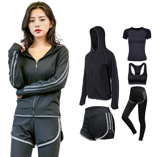 2018 Fashion Women Sporting Suit Hooded Jacket+T Shirt+Bra+Pants+Shorts 7c998775f