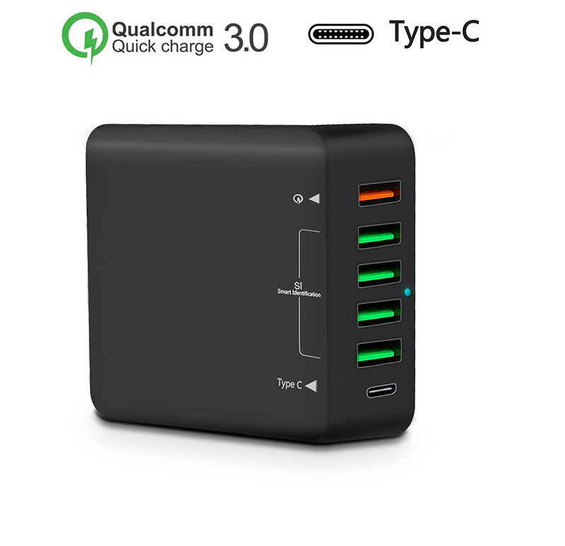 6-Port 60W Type-C USB Charging Station,Wall Charger Hub Fast Charging Station With Qualcomm Quick Charge 3.0 And Type C