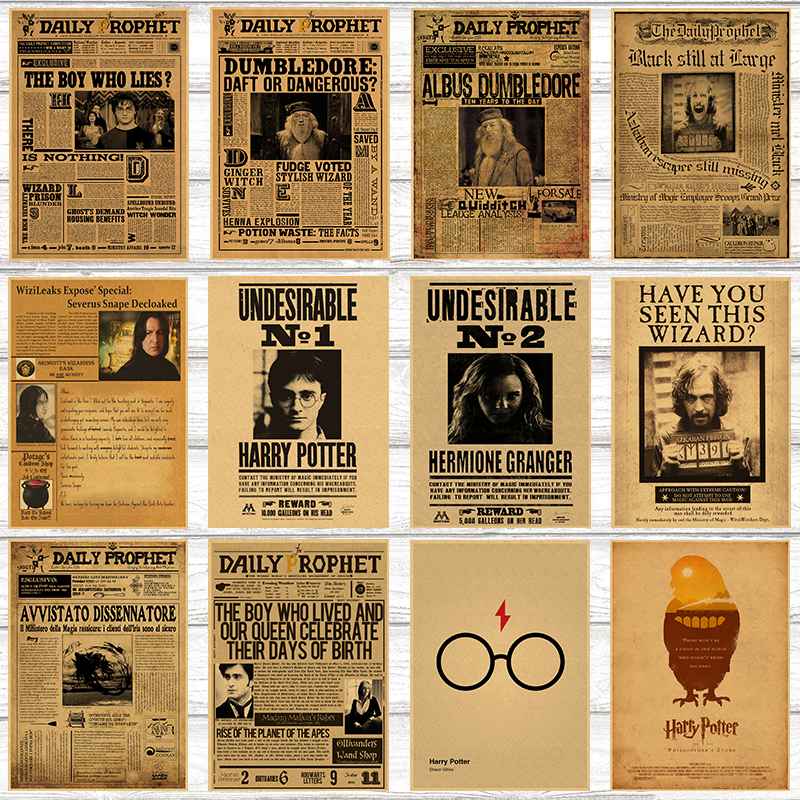 Classic Movie Kraft Paper Poster Harry Potter Daily Prophet Wall Sticker Bar Cafe Decorative