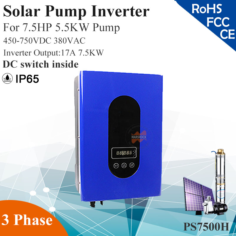 7.5KW 17A 3phase 380VAC MPPT solar pump inverter with IP65 for 7.5HP 5.5KW water pump DC switch inside solar pump inverter professional design 3 phase ac pump inverter 2 2kw customized inverter