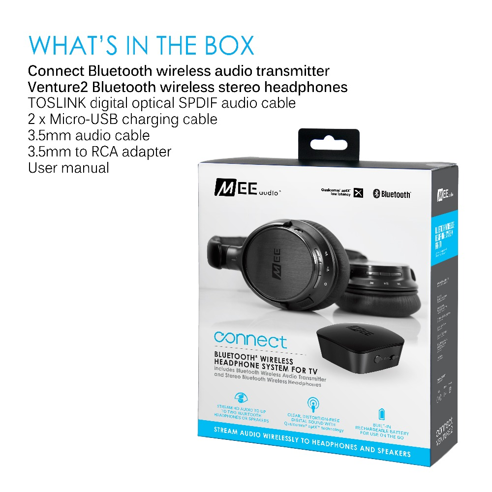 98829ef0153 MEE audio Connect Bluetooth Wireless Headphone System for TV Includes  Bluetooth Wireless Audio Transmitter and Headphones New-in Earphones &  Headphones from ...