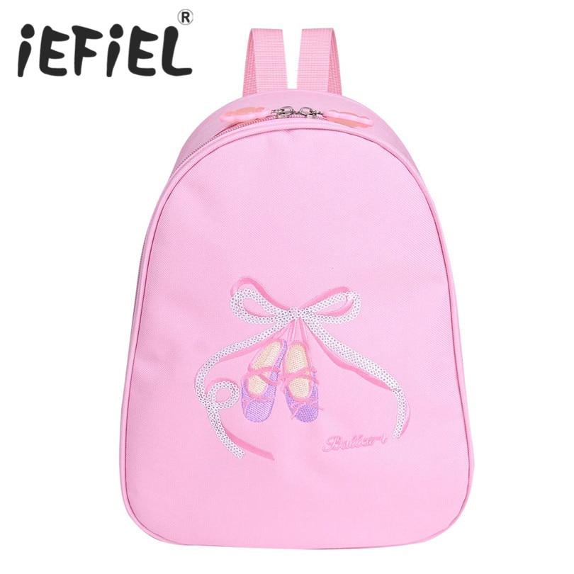 iEFiEL Toddler Kids Girls Children Ballet Dance Backpack Toe Shoes Embroidered Shoulder Bag for Ballet Performance Dancing Bags