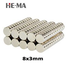 imanes 30Pcs 8x3 Neodymium Magnet Permanent N35 NdFeB Super Strong Powerful Magnetic Small Magnets HE-MA Disc 8mmx3mm