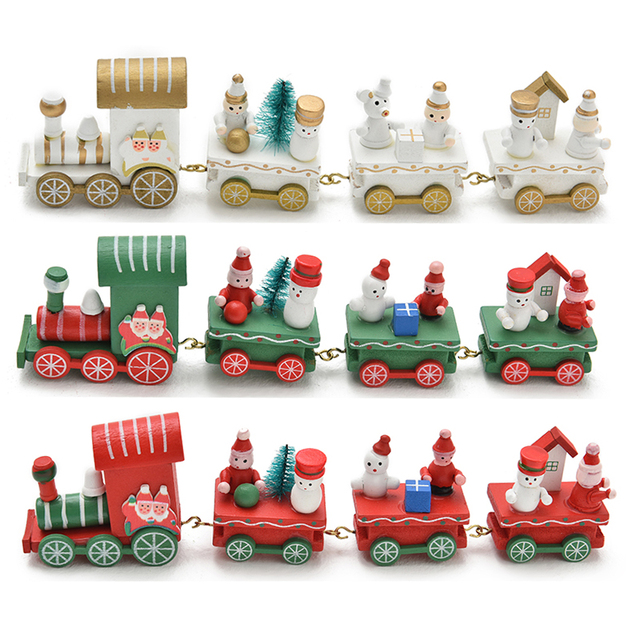 christmas train painted wooden action figure toys santa christmas decoration for home xmas kid toys gifts - Christmas Train Decoration