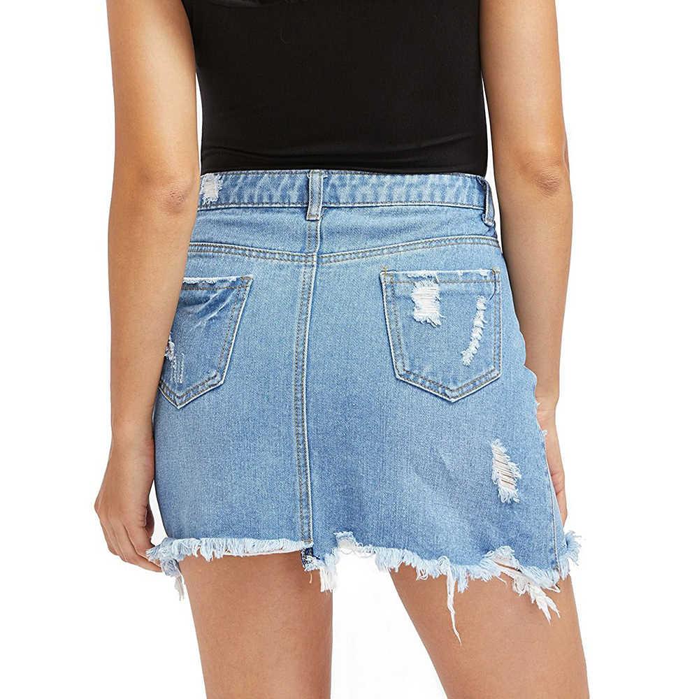 CALOFE Donne Blu Strappato casual Mini Pannello Esterno Del Denim 2020 di Estate Nuove Donne Bodycon Tasca Dei Jeans della Metà di Vita del Pannello Esterno di Base pannello esterno