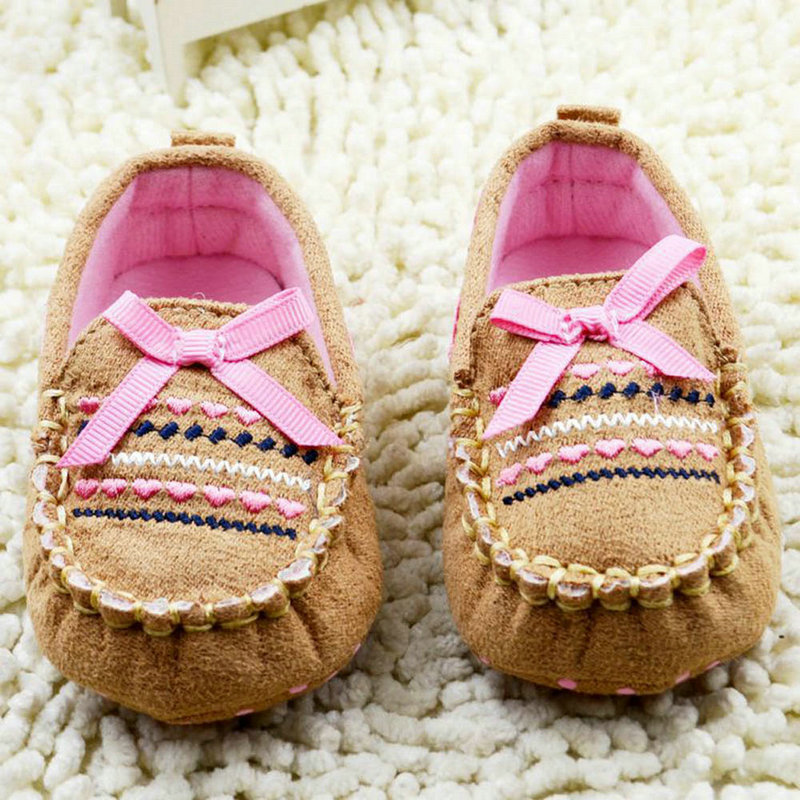 Infant 0-18Months Baby Toddler Boy Girl Bow Brown Soft Sole Handmade Crib Shoes Hot P6Y