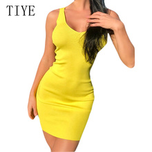 TIYE Sexy Sleeveless Femme Ribbed Knitted Short Dress Elegant Hollow Out Backless Bodycon Pencil Women Summer Sundress