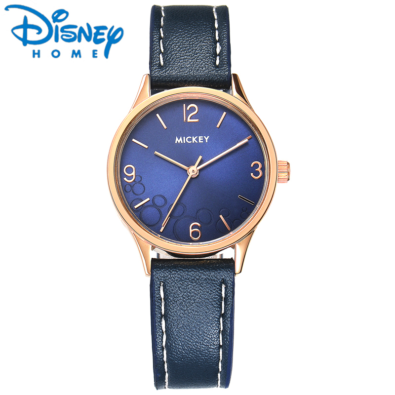 Original Disney Women Watches 2017 Famous Brand Luxury Fashion Quartz Ladies Watches Blue Mickey Mouse Leather Strap Watch Clock original disney brands girl pretty mickey mouse cartoon lovely watch best fashion casual simple quartz round leather watches
