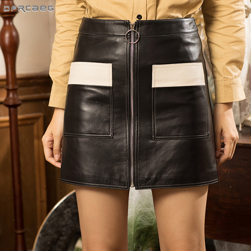bd80f5ae7c Black Patchwork Leather Pencil Skirts For Womens 2018 Winter Streetwear  Casual High Waist Vintage A-line Skirt Femme Saias