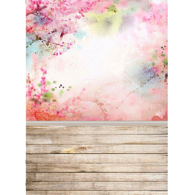 5X7FT Pink Wall Wood Floor Photography Background For Studio Photo Props Vinyl Thin Photographic Backdrops cloth 1.5x 2.1m rain