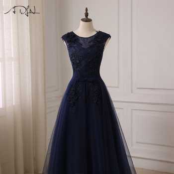 ADLN Navy A-line Prom Dresses Cap Sleeve Scoop Neck Floor Length Tulle Evening Party Gowns Robes De Soiree Lace-up Back