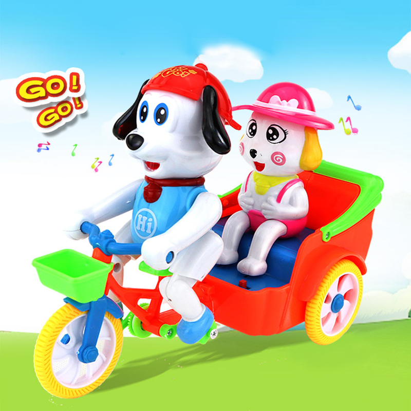 Coche eléctrico caminando cantando perros que monta un triciclo juguetes para niños simulación de bicicleta baile Musical 2019 Año Nuevo regalo