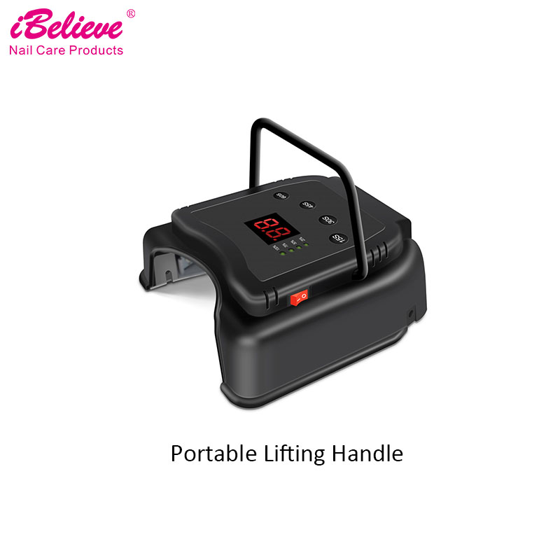 iBelieve 66w LED Nail Lamp Rechargeable uv nail dryer Powerful for fast curing hard builder gel