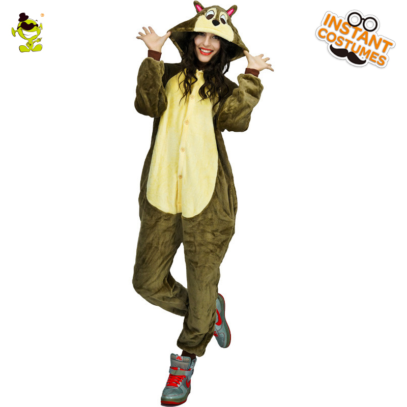 High Quality Squirrel Pajama Woman Cute Pajamas Costumes Carnival Party Adult Hooded Dress-up Funny Animal Sleepwear for Women