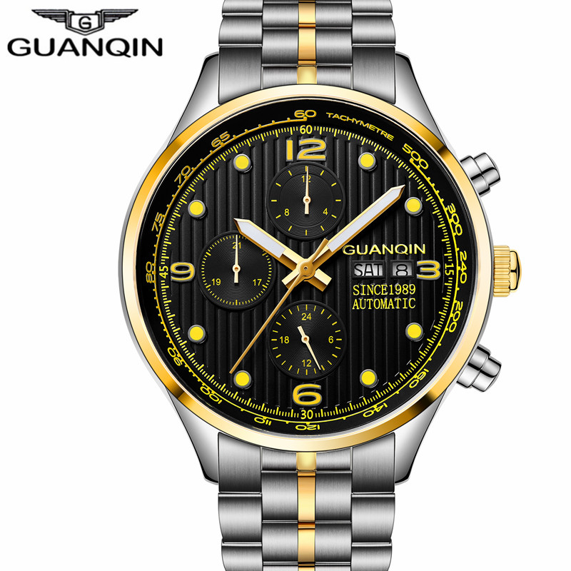 relogio masculino GUANQIN Luxury Men Watches Automatic Date 24 Hours Luminous Clock Men's Business Full Steel Mechanical Watch guanqin men auto mechanical watch water resistance luminous pointer date 24 hour display transparent back cover wristwatch