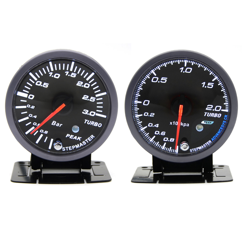 DRAGON GAUGE 60MM 2.0 BAR 3.0BAR Boost Turbo Gauge Black Color Dual Led Color Display