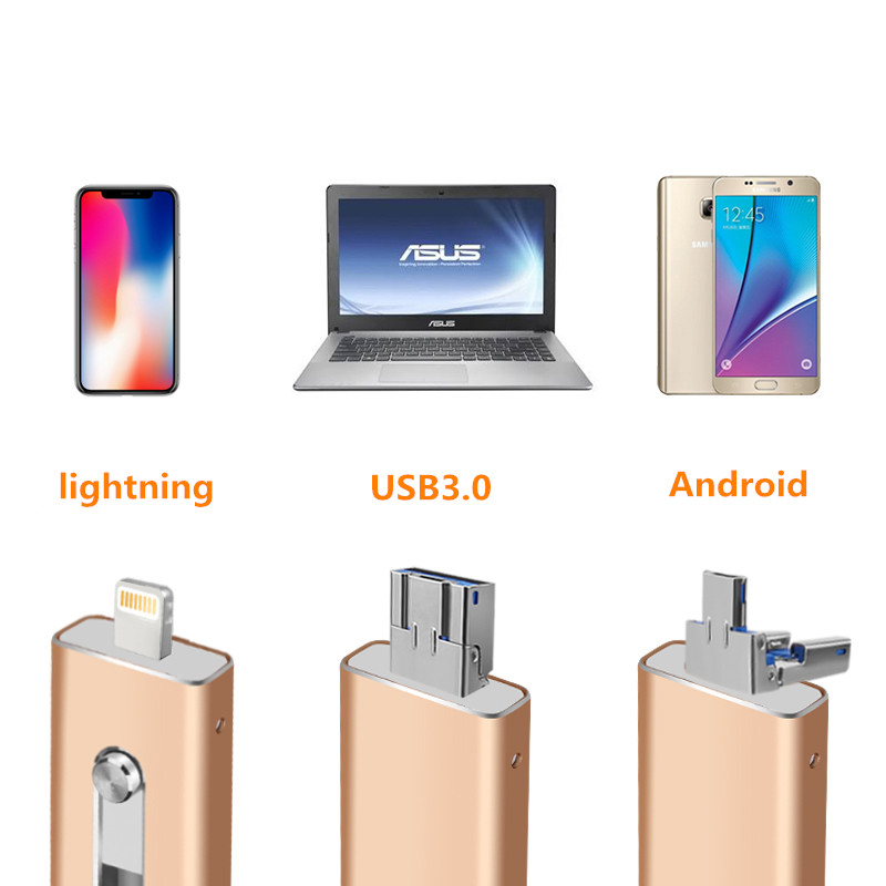 OTG External USB3.0 Flash Pen Drive Memory Stisk For iPhone 32GB 64GB 128GB 256G