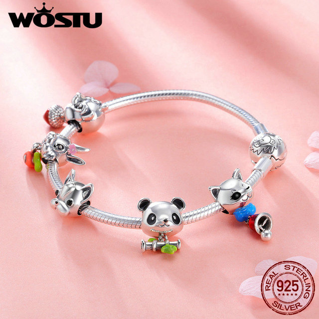Wostu Real 925 Sterling Silver Lovely Animal Rabbit Dog Panda Charm Bracelet For Women Fashion