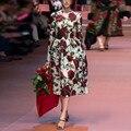 Новые модели моды подиум роуз печати пачки Тонкий тонкими длинными рукавами шею платье Бесплатная Доставка