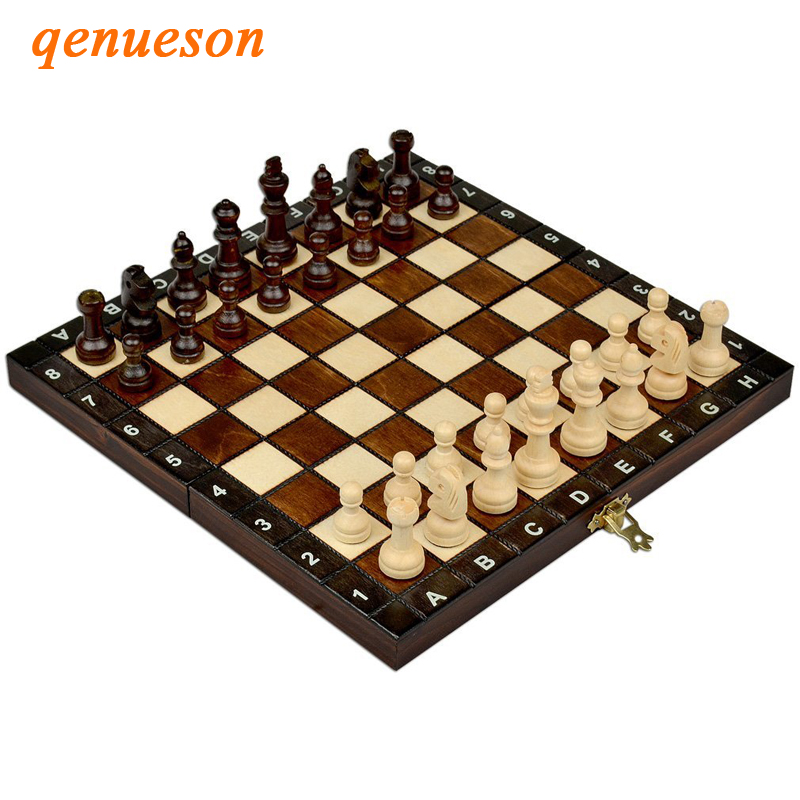 Hot Handwork Top Grade Folding Wooden International Chess Set Board Travel Game Natural Safe Paint Children