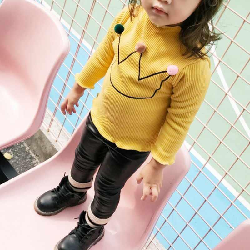 เด็กสาวThickenเสื้อยืดเด็กเสื้อแขนยาวเสื้อเสื้อผ้าฝ้ายลูกอมสีเด็กTeesเด็กเสื้อ